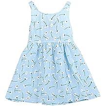 Vestido de niña, Xinan Bebé Niña Sin mangas Diente de león Impresión Bowknot Tutú Vestidos