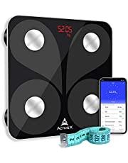 ActiveX (Australia) Savvy Smart Digital Body Fat Scale by ActiveX Australia, with free app - Charcoal Black - With Measuring Tape