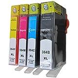 4 Versión para cartuchos de tinta XL con Chip HP Deskjet 3070 3070A 3520 3520A / HP officet 4610 4620 4622 / HP 5510 5512 5514 5515 5520 5524 6510 6520 7510 7520 / HP Photosmart C 5324 5370 5373 5380 5383 5388 5390 5393 6324 6380 /HP Photosmart 7510 / HP PhotoSmart D 5460 5463 5468 / HP PhotoSmart Pro B 8550 8553 8558 / HP Photosmart Premium Fax All-in-One Printer - C309a C309g / HP Photosmart Premium e-All-in-One Printer - C310a C310b C310c / HP Photosmart Premium Fax e-All-in-One Printer - C 410 410b / HP Photosmart eStation Printer C 510 510a 510c / HP PhotoSmart B 010a 109a 109d 109f 109n 110a 110c 110e 111a 111c 111h 209a 209c 210a 210c 210d 211a / Cartucho de recambio 1 x Negro 364BK XL / 1 x azul 364C XL / rojo 1 x 364M XL / 1 x amarillo 364Y XL (comp.)