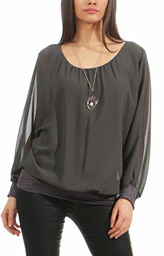 Malito Damen Bluse mit passender Kette   Tunika mit ¾ Armen   Blusenshirt mit breitem Bund   Elegant - Shirt 1133 (dunkelgrau) Bund Shirt