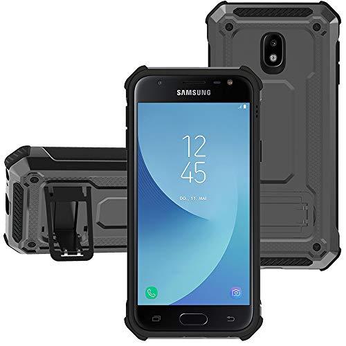 """KUAWEI Custodia per Samsung Galaxy J5 2017 Dual Layer Custodia ibrida Rigida Morbido Armatura resistente agli urti con Supporto e asportabile di protezione per Galaxy J5 2017 J5 PRO J530 5.2"""" (Grigio)"""