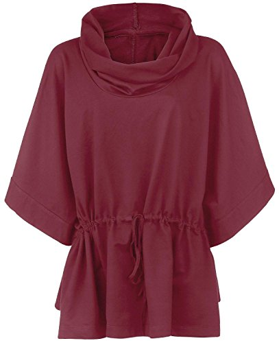 High Neck Poncho Poncho bordeaux S
