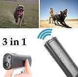 Sallypan Mini 3 In 1 Anti Bellen Stop Rinde Ultraschall Haustier Hund Repeller Trainingsgerät Trainer Mit LED,Black