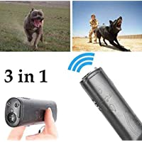 Sallypan Mini 3 En 1 Barking Anti Stop Bark Ultrasonic Dog Repeller Training Device Entrenador con LED,Black