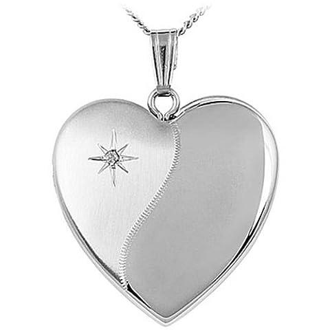 Halskette mit Medaillon, Sterlingsilber und Diamant, Kettenlänge 45,7 cm, mit Schmuck-/Geschenk-Box, tolles (Sterling Silber Diamant-medaillon)