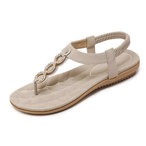 SANMIO Damen Sandals, Frauen Sandalen Sommer Bohemian Strass Flach Sandaletten PU Leder Zehentrenner Beige 37, Beige, 40 EU -