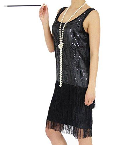 Foxxeo 40307 | 20er Jahre Mädchen Kleid Charleston Kostüm Mafia 20s Flapper schwarz, Größe:146/152