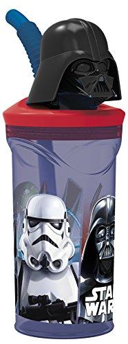 Darth Vader 3D-Figur und Strohhalm, 350 ml, 8 x 8 x 20 cm, Plastik, schwarz, 23 x 7.5 x 7.5 cm ()