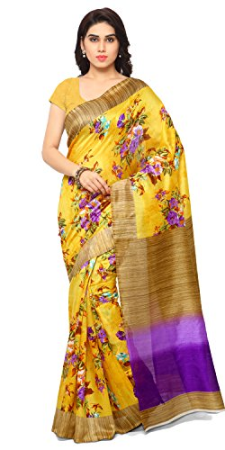 Samskruti Sarees Art Silk Saree (Syellow-Floral_Yellow)