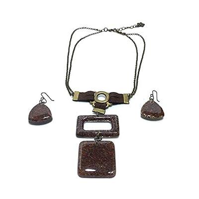 parure 2 pièces: collier et boucles d'oreilles - bijoux d'inspiration mexicaine