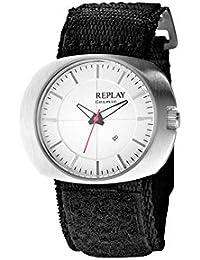 Replay RW5203AH - Reloj con correa de tela para mujer, color blanco / gris