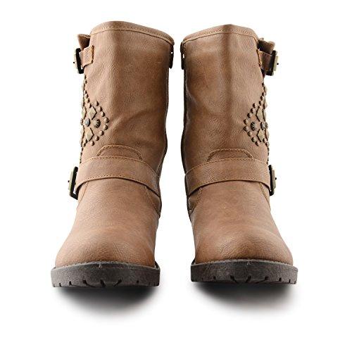 neuen Damen Wohnung Low Biker Nieten Schnalle Damen Mädchen Kunstleder stylischen Schuhe Reißverschluss Stiefeletten UK Größen 3–8 Hellbraun