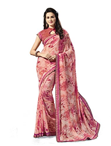BEAUTIFUL PRINTED GEORGETTE SAREES WITH BROCADE