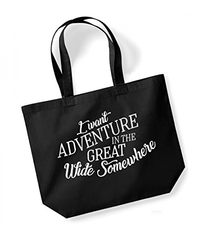 I Want Adventure In The Great Wide Somewhere - Large Canvas Fun Slogan Tote Bag Black/White