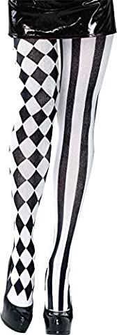 Harlequin Tights. Black/White Accessory Fancy Dress