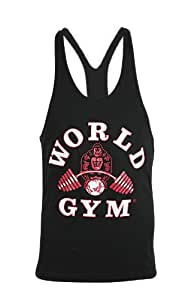 Worlds Gym Workout Tank Top - Gym Racerback Stringer Shirt - Black (SMALL)