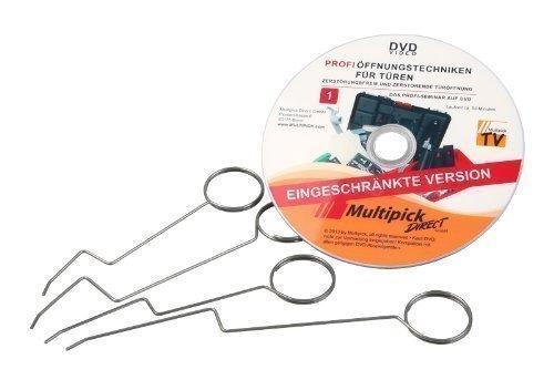 Dietrich-Set - Türfallen-Öffnungsnadel Set 4-tlg. mit Profi-Anleitung auf DVD - Türöffnungs-Set