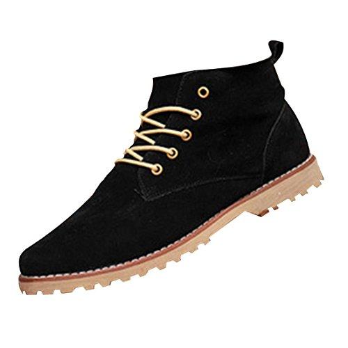 jeansian Moda Casuale Scamosciato Scarpe Inverno Stivali Scarpe da Uomo Boots Black 7.5 US SHB036