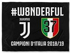 Idea Regalo - JUVENTUS F.C. - Perseo Trade S.R.L. Bandiera Juventus 37 Campioni d'Italia Prodotto Ufficiale 2019 Nera Nuovo Logo Scudetto n°37 100 x 140