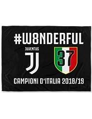 JUVENTUS F.C. - Perseo Trade S.R.L. Bandiera Juventus 37 Campioni d'Italia Prodotto Ufficiale 2019 Nera Nuovo Logo Scudetto n°37 100 x 140