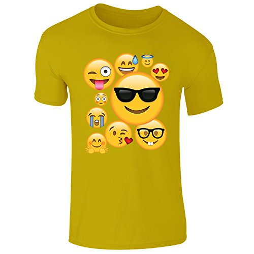 New Men's Emoji Ideograms Smileys Emotions Mobile Symbols T Shirt Top Tee (XX-Large) Yellow (Gelbes Tee T-shirt)