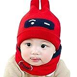 H.eternal Baby Beanie Mütze Wintermütze Schneemütze Cute Crochet Knit Hairball Cap und niedlichen Schal (M)