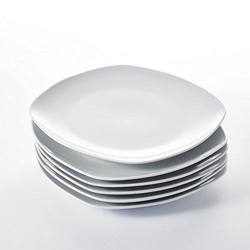 MALACASA, Série Elisa, 6pcs Assiettes Plates Porcelaine, Assiettes et Plats de Services pour 6 Personnes