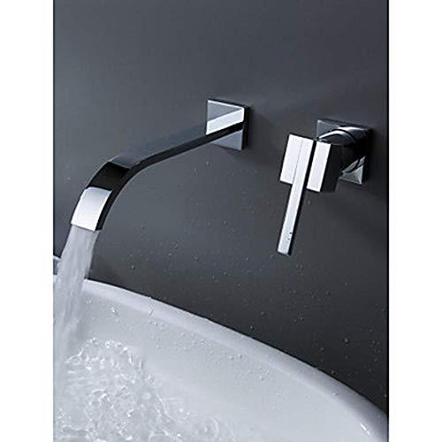 Bad Wasserhahn - Moderne Chrom Wand Keramik Ventil Badewanne Dusche Mischbatterie/Einhand zwei Löcher (Einhand-dusche-ventil)