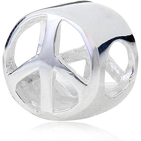 soulbead Símbolo de la paz calado Encanto auténtica plata de ley 925Bead para Europea Pulsera Joyería