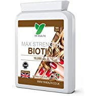 Biotin Tablets for Hair, Nail & Skin | 10,000mcg | 180 Biotin Vitamin B7 Vegan Friendly Tablets | 6 Month's Supply Easy to Swallow Small Tablets