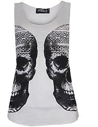 (womens double aztec skull vest top)(mtc) frauen aztec Schädel Westeoberseite (36/38 (uk 8/10), (white) weib)