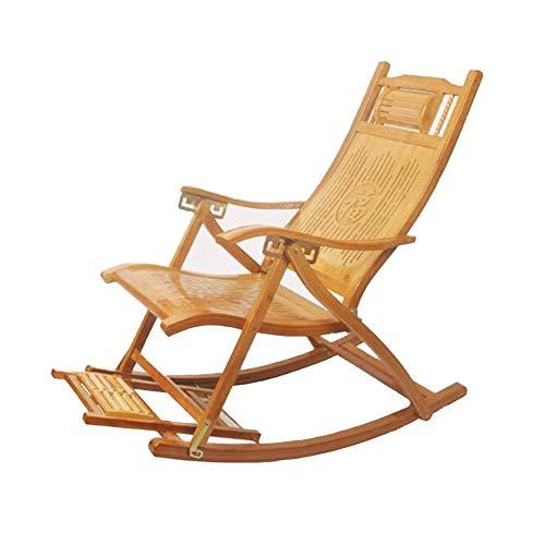 ZHANG Chaise-Rocking Chair Fauteuil en Bambou Lounging Rocker Deck Relax inclinable siège Lounge intérieur extérieur
