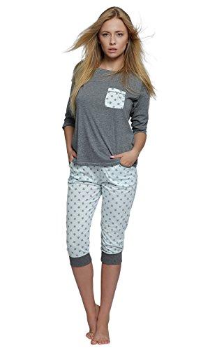 SENSIS edler Baumwoll-Pyjama Hausanzug aus wunderschönem Oberteil und toller Capri-Hose mit Bündchen, made in EU (XL (42), grau/weiß mit Sternen) (Grau Baumwolle Hose Schlafen)