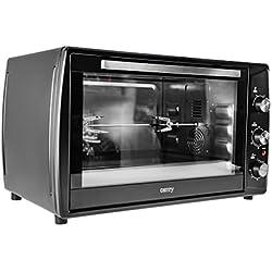 Horno con pincho giratorio, aire de recirculación, temporizador, mini horno para pizza, horno, horno para pollo 2200W