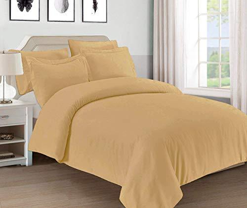 Mellanni Bettbezug-Set - weiche Doppelbett-gebürstete Mikrofaser Bettwäsche - Knopfverschluss und Eckbänder, knitterfrei, fleckenabweisend King/Cal King beige -