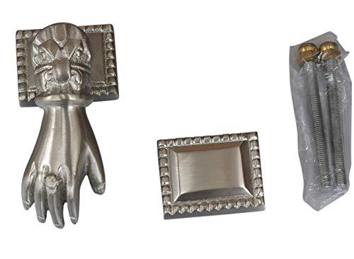 Graf von Gerlitzen Antik Messing Nickel Tür Klopfer Türbeschlag Türklopfer Hand 105424N