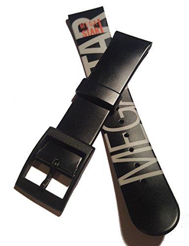 Junghans Mega Star Uhrenband/Schwarz mit Schriftzug / 20mm / NOS (J013)