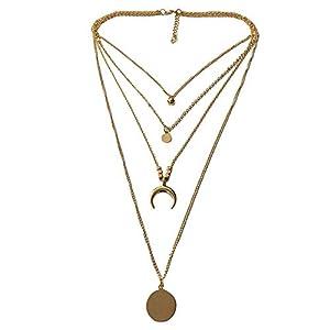 Chenang Mehrschichtig Damen Halskette, Mond Halskette Anhänger,Wafer Anhänger Damen Classic Anhänger anh anhänger Edelstahl