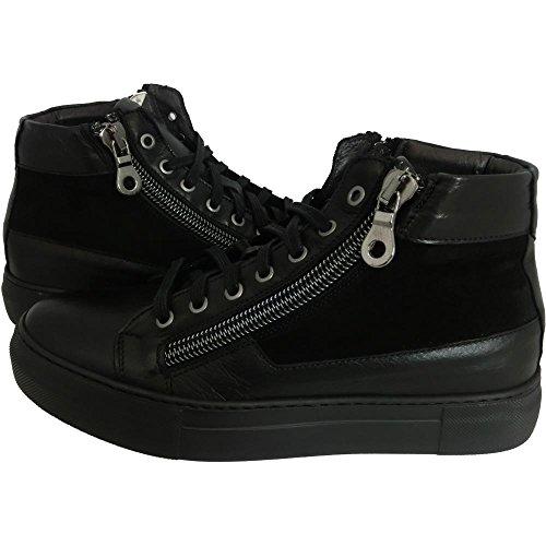 Scarpe uomo Exton 251 0726 - Sneaker havana nero camoscio made in italy (41)