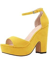 Sandali gialli con punta aperta per donna