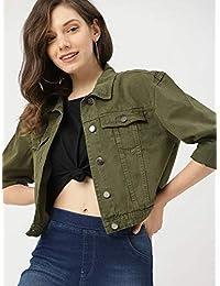 ROOLIUMS Full Sleeve Solid Women's/Girl's Millitary Denim Jacket