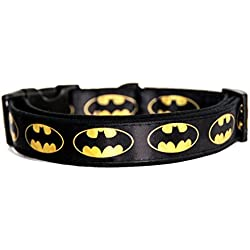 Batman Logo DC Comics Collar Perro Hecho a Mano Talla M sin Correa Dog Collar HandMade
