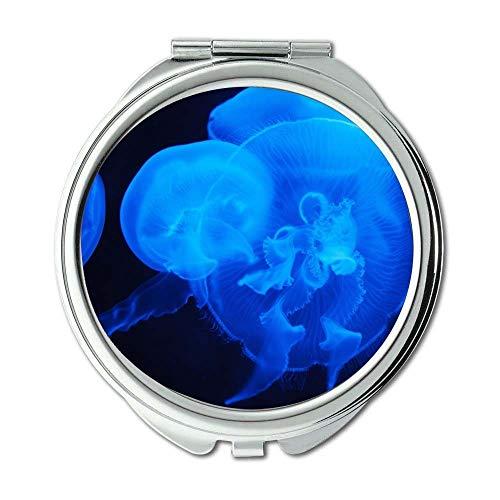 Yanteng Spiegel, Reise-Spiegel, Tiere Blaue Quallen, Taschenspiegel, tragbarer Spiegel