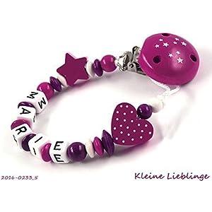 Schnullerkette für Namen für Mädchen mit 2 - 10 Buchstaben Stern Herz - Sternenclip dunkelpink, beere, weiß -...