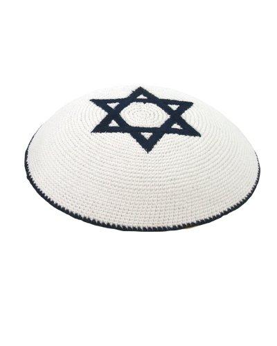 Hüte Männer Jüdische Für (Gestrickt weiße Kippa jüdische Israeli Judaica Kipa mit Davidstern)
