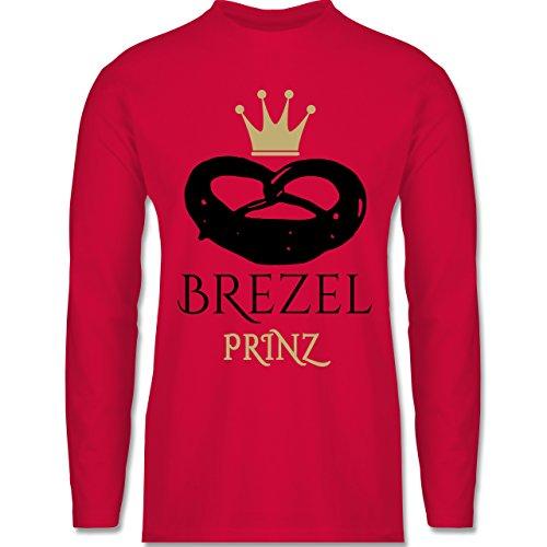 Oktoberfest Herren - Brezel Prinz - Longsleeve / langärmeliges T-Shirt für Herren Rot