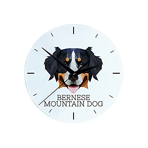 Bernese Mountain Dog, wall clock with an image of a dog, geometric