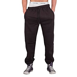 Love My Fashions® Mens Trousers Drawstring Elasticated Cuff Jogging Fleece Bottoms Zip Pockets Close Hem Casual Outwear Sweatpants Size S L 2XL 5XL Black