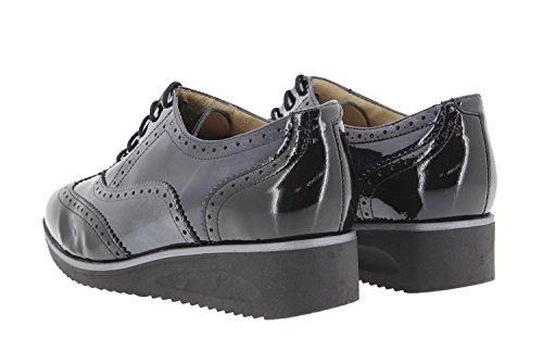 Chaussure femme confort en cuir Piesanto 9621 lacet confortables amples Negro-Gris