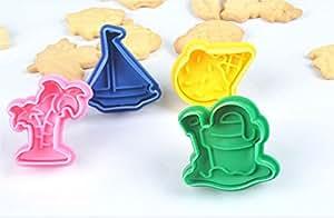 ElecMotive 4 teiliges Cookie Cutters Plätzchenformen Backformen Fondant Keks Ausstechformen Set mit Auswerfer Farbe zufällig gesendet in Geschenkkarton(N)